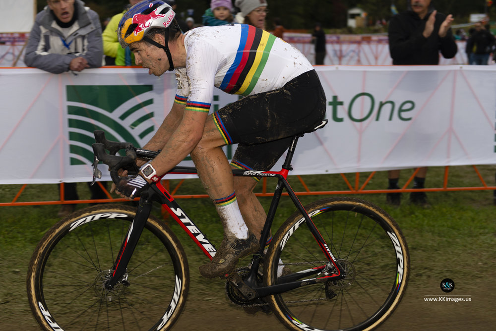 Van Aert on his B bike.